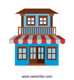 light color silhouette of facade house with two floors with balcony and awning