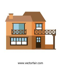 light color silhouette of facade house with two floors with balcony and chimney