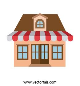 light color silhouette of store with awning and attic