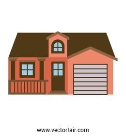 light color silhouette of facade house with garage and attic