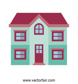 light color silhouette of facade house of two floors and roof