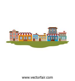 colorful silhouette of facade store country houses in grass