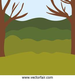 colorful background with trees and mountains landscape