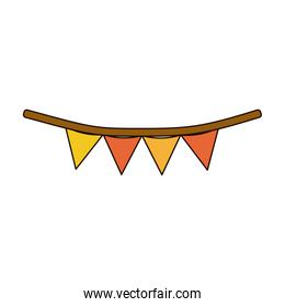 white background with colorful festoons in shape of triangle with thick rope