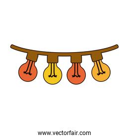 white background with colorful festoons bulb lights with thick rope