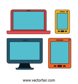 white background with colorful set devices technology