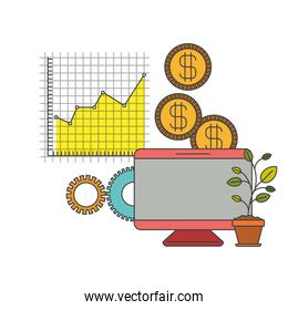 white background with colorful display computer grid with graphics growth economy