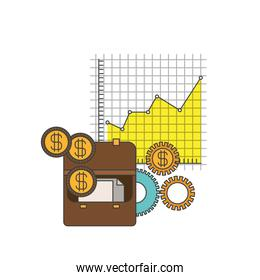 white background with colorful portfolio and grid with graphics growth economy