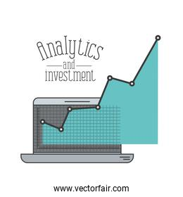 white background with colorful laptop computer grid with graphics growth economy analytics and investment