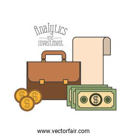white background with colorful portfolio and money economy analytics and investment