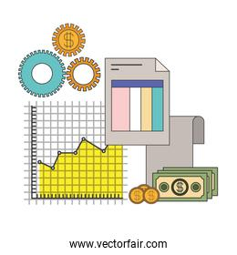 white background with colorful set graphics growth economy