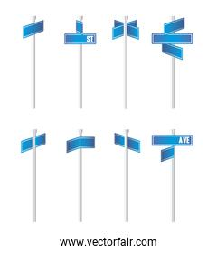 illustration of blue traffic signs isolated on white background