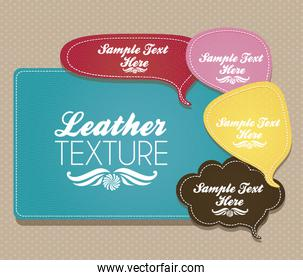 illustration of text balloons with leather texture vector