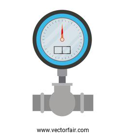 white background with color silhouette of water meter
