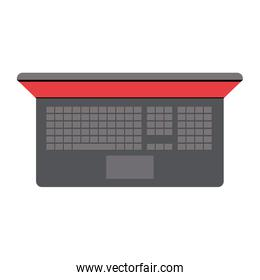 white background with colorful silhouette of laptop computer in top view