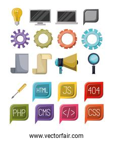 colorful set of icons elements of web programming languages