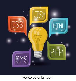 blue dark background with brightness of light bulb with web programming language codes