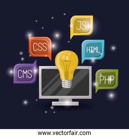 blue dark background with brightness of light bulb and computer display with web programming language codes in dialog box