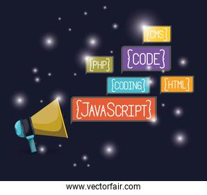 blue dark background with brightness of megaphone with web programming language codes in rectangular textbox