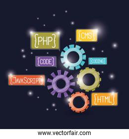 blue dark background with brightness of gears with web programming language codes in rectangular textbox