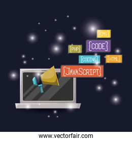 blue dark background with brightness of laptop and megaphone icon with web programming language codes in rectangular textbox