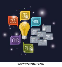 blue dark background with brightness of light bulb and set windows with web programming language codes