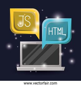 blue dark background with brightness of laptop and dialog textbox with web programming language codes
