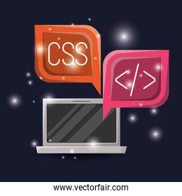 blue dark background with brightness of laptop and dialog box with web programming language codes icons