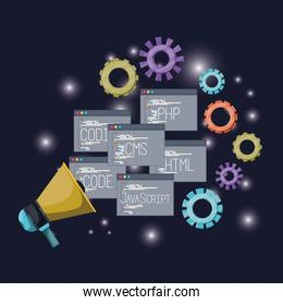 blue dark background with brightness of megaphone with set windows web programming language codes and gears