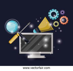 blue dark background with brightness of display computer and gears mechanism with magnifying glass and screwdriver tool