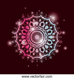 red wine color background with brightness and colorful brilliant flower mandala vintage decorative ornament