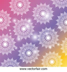 degraded color background with brightness and pattern flower mandala decorative