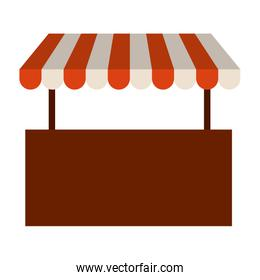 colorful silhouette image of store with striped awning