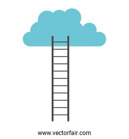 white background with colorful ladder to cloud