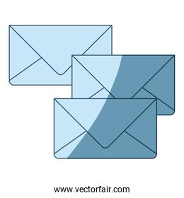 blue shading silhouette of envelopes of mail