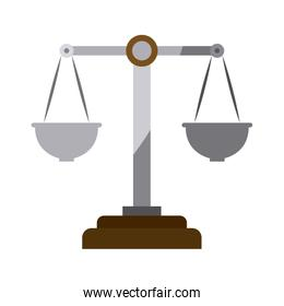 colorful silhouette of justice scales without contour