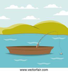 colorful background lake landscape and fishing boat