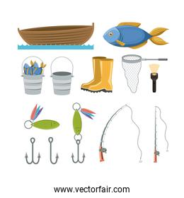 colorful set collection elements to fishing