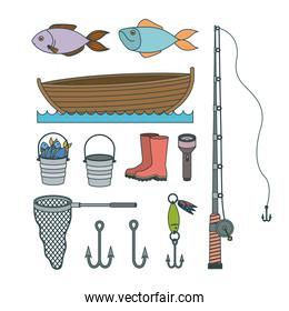 colorful set collection sketch elements to fishing