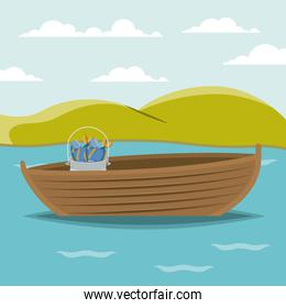 colorful background lake landscape and fishing boat and bucket with fish