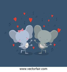 color background with couple of elephants dancing in love