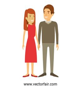 colorful silhouette of man and woman standing and her with long hair straight and him in formal clothes and hair side fringe