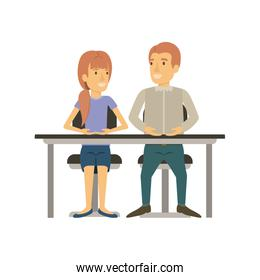 colorful silhouette of teamwork of woman and man sitting in desk and her with ponytail hairstyle and him in casual clothes