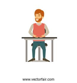 man with beard in formal clothes and red hair and sitting in chair in desktop