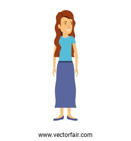 colorful silhouette of woman standing with long hair red and wavy