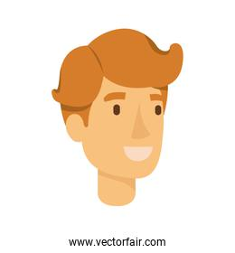 colorful silhouette of redheaded man face