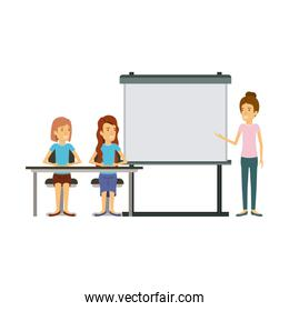 white background with couple of women sitting in a desk for female executive in presentacion business people