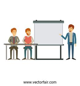 white background with couple of man sitting in a desk for executive orator in presentacion business people
