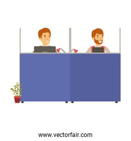 silhouette color cubicles workplace office with pair man employees