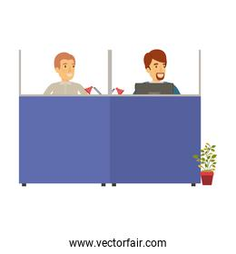 silhouette color cubicles workplace office with male employees